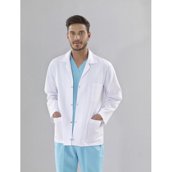 Erkek Klasik Yaka Beyaz Doktor Önlüğü