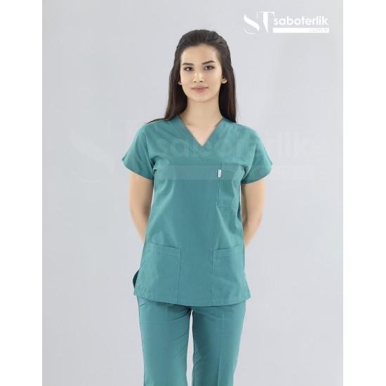 Ameliyathane Yeşili V Yaka Cerrahi Takım ( Terikoton İnce Kumaş)