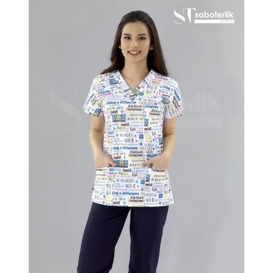 Nurse Desenli V Yaka Greys Takım (İnce Kumaş)